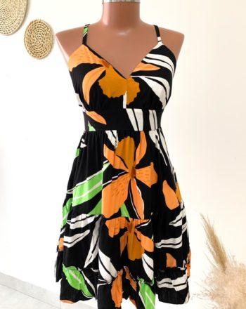 jjoficial com br vestido tricoline preto com flor laranja